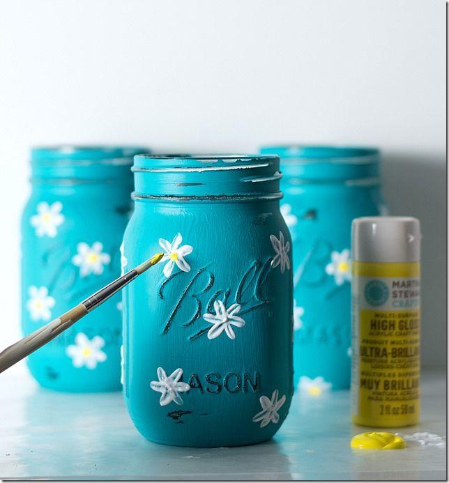 Painted Daisy Mason Jars | Mason Jar Crafts Love