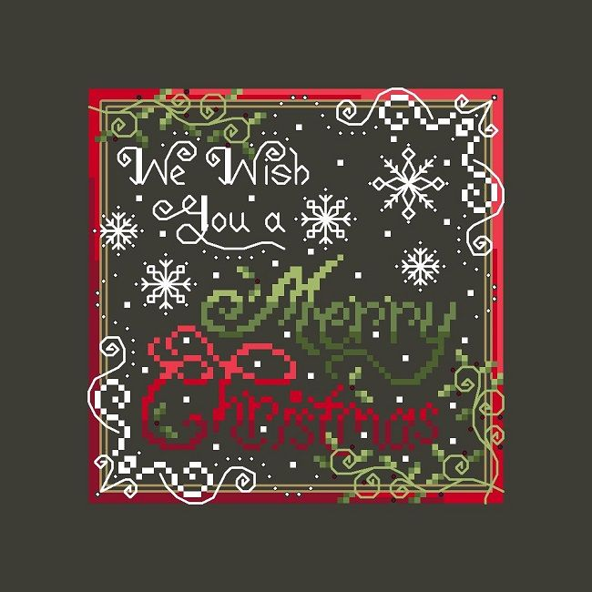 Merry Christmas cross stitch pattern by Shannon Wasilieff Pattern measures 70w by 70h and uses DMC, Kreinik and Mill Hill Beads. Doesn't have to be stitched on just a black fabric, can also be stitched on other colours for an equally pretty look.