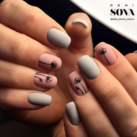 Simple Matte Pink And Grey With Black Flower Nail Art Beauty