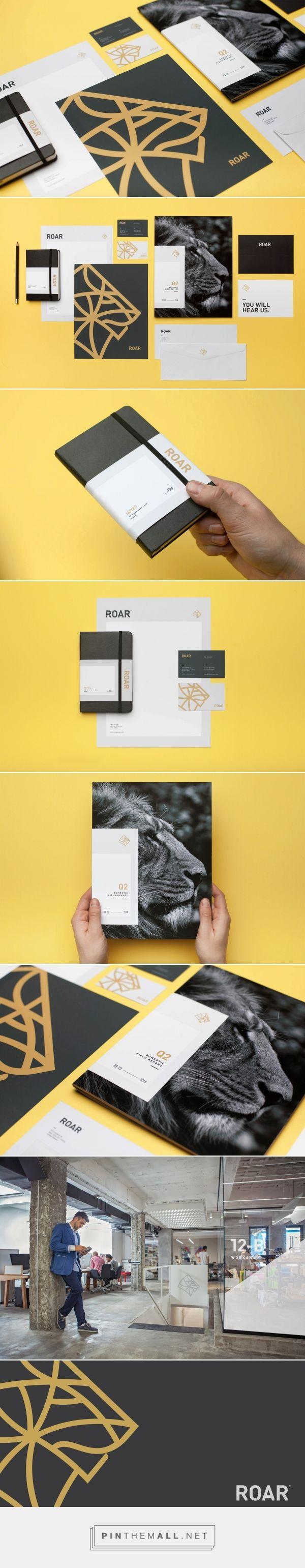 Roar Groupe. #marca #brand #branding #diseño #design #gráfico #graphic #inspiración #inspiration #creatividad #creativity #portfolio #tipografía #typography #logo #logotype #editorial #mockup #roar #negro #black  #amarillo #yellow #león #lyon