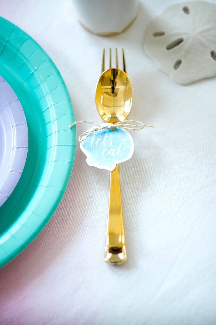 Gold flatware from a Pastel Mermaid Birthday Party on Kara's Party Ideas | KarasPartyIdeas.com (21)