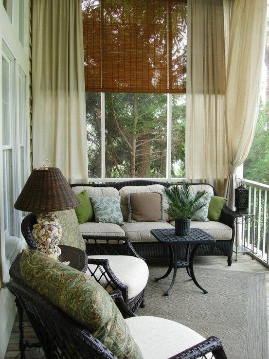 Outdoor use of bamboo blinds (or possibly faux bamboo so they don't deteriorate) and drapery.
