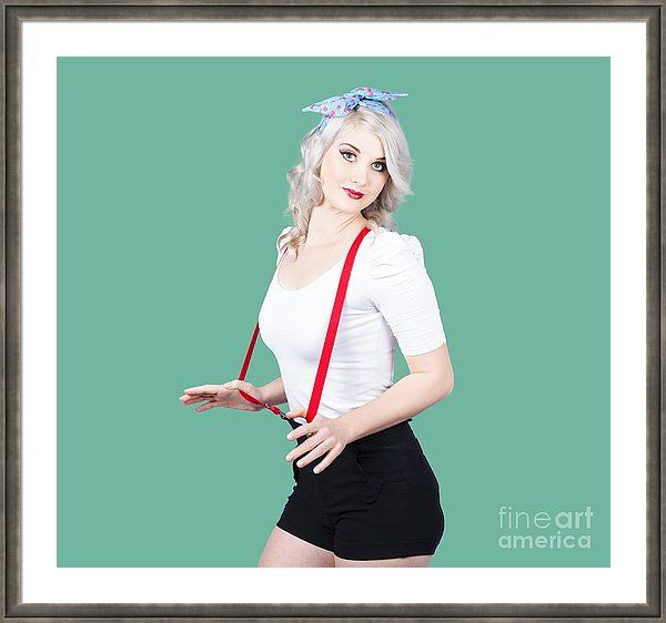 Pinup Framed Print featuring the photograph Young Beautiful Caucasian Woman In Retro Styling by Jorgo Photography - Wall Art Gallery