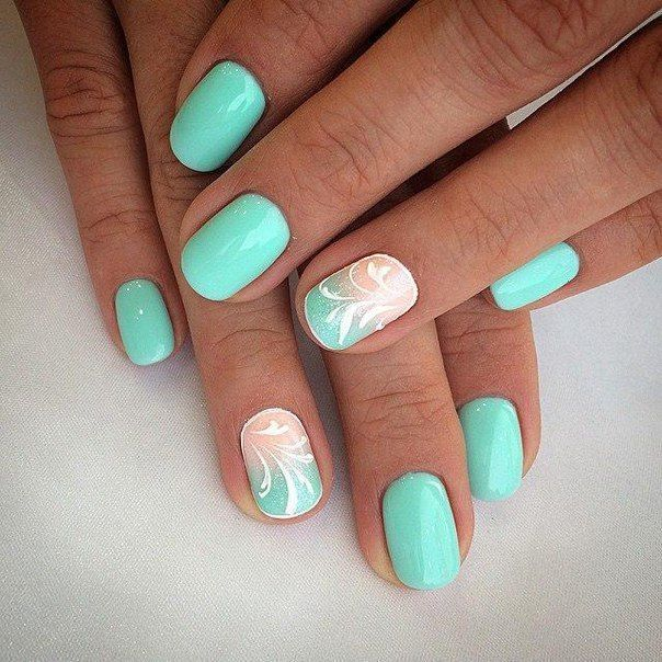 Gradient manicure for a short nails, Original nails, Pattern nails, ring finger…