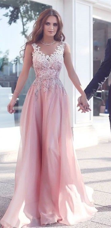 v neck pink lace long prom dress, pink evening dress Appliques Sleeveless Pink Floor-Length A-Line Evening Gowns