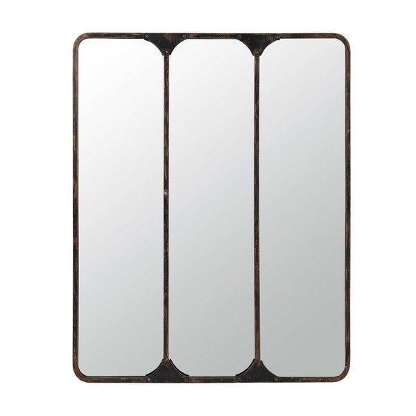 Miroir triple en métal noir H 159 ...