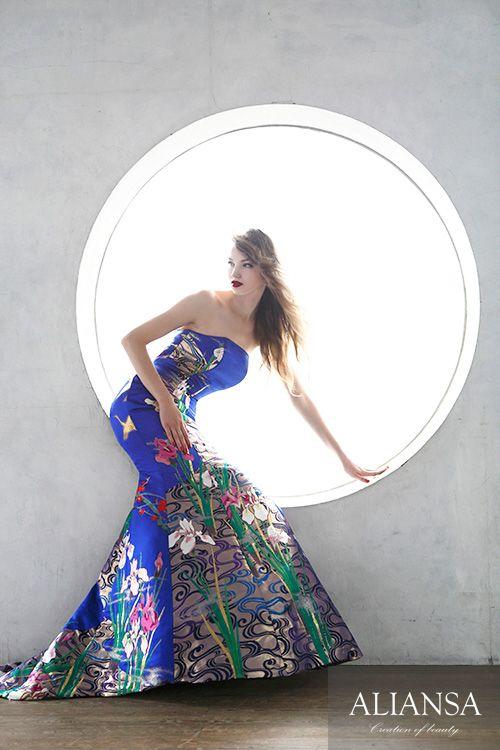 和ドレス 着物ドレス 瑠璃