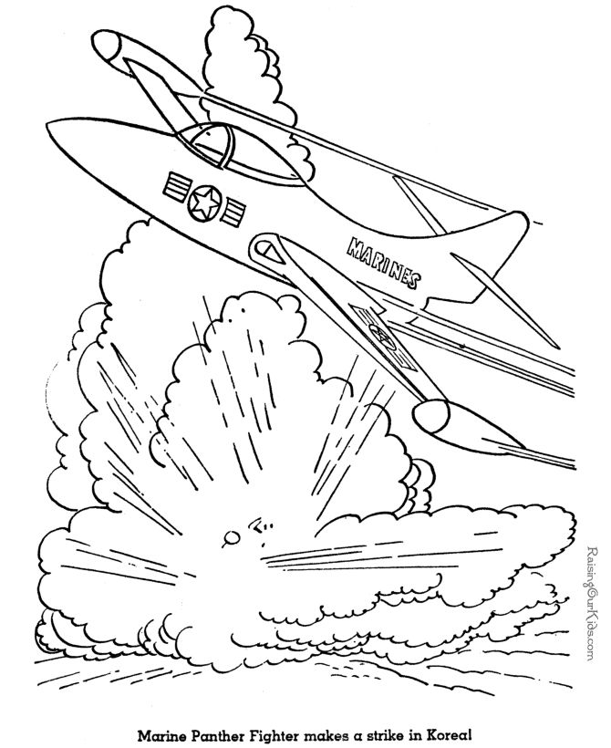 free military jet coloring page