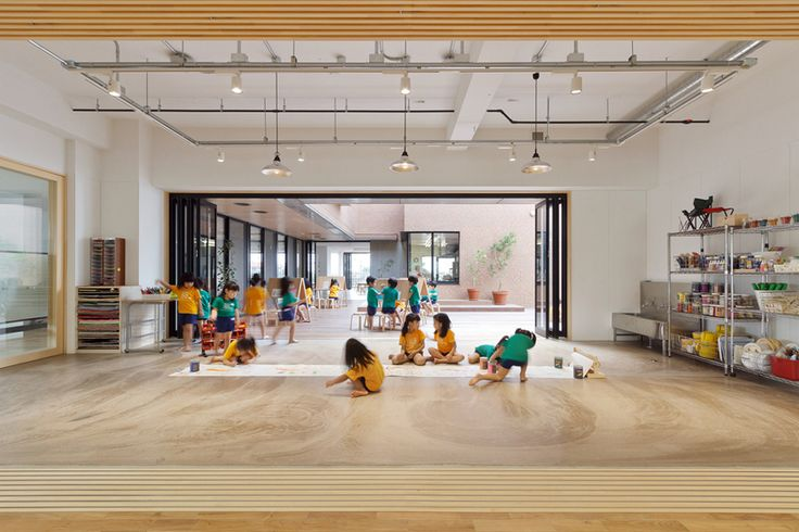 "Hanazono Kindergarten designed by HIBINOSEKKEI + youji no shiro in Japan  The inside spaces are conceived as ""studio"" spaces for creative and artistic activity"