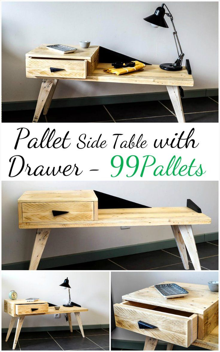 Creative Pallet Side Table with Drawer | 99 Pallets