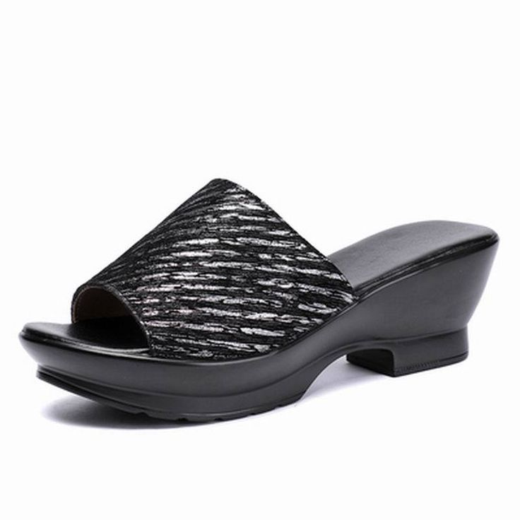 GKTINOO Women Slipper's 2019 Ladies Summer Slippers Genuine Leather Shoes Women Wedges Heels Fashion Platform Summer Shoes