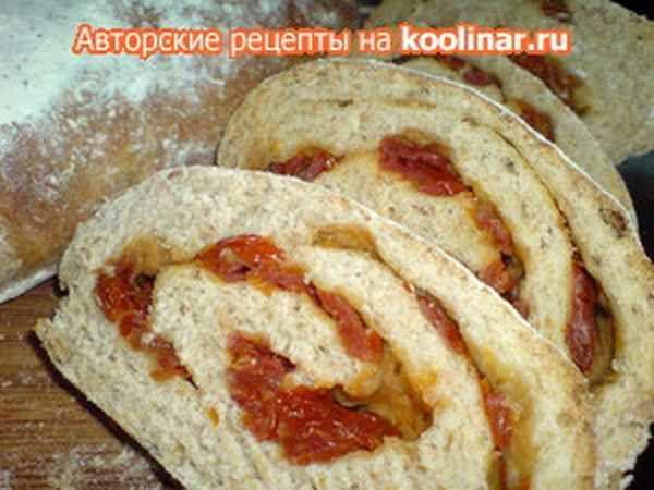 Ciabatta -рулет хлебный с вялеными помидорами