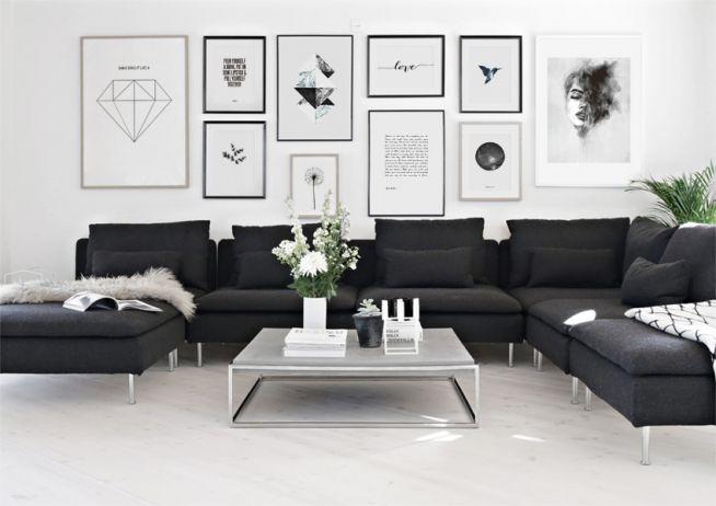 Inreda vardagsrummet. Snygg tavelvägg ovanför svart soffa. Inredningsdetaljer till vardagsrum.