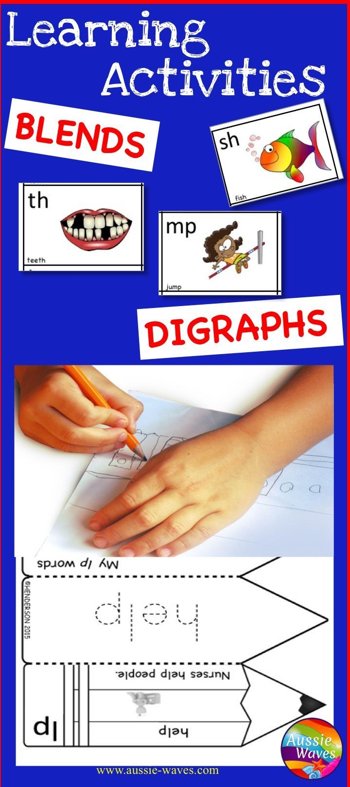 Blends and Digraphs ANCHOR CHARTS and WORKSHEETS fun activities to help learning PHONICS fun!