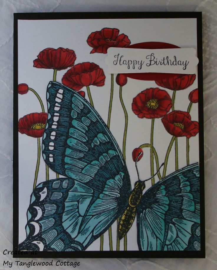 Pleasant Poppies and Swallowtail with Blendabilities, Stampin' Up! @ My Tanglewood Cottage