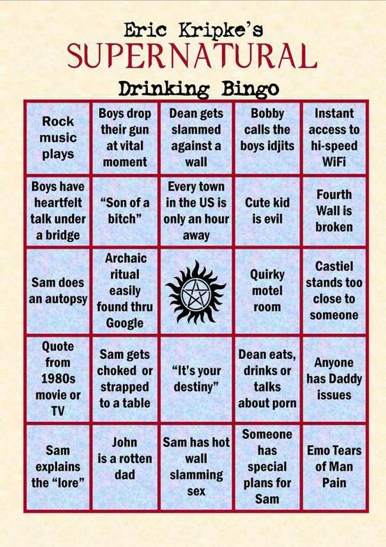 Supernatural Drinking Game - We're playing this I hope you know @ Ambur Hrooshkin