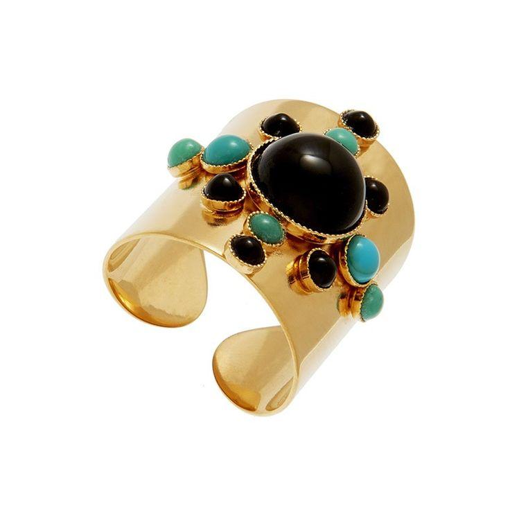 Bague Soleil de pierres Onyx & turquoises, Caroline Najman