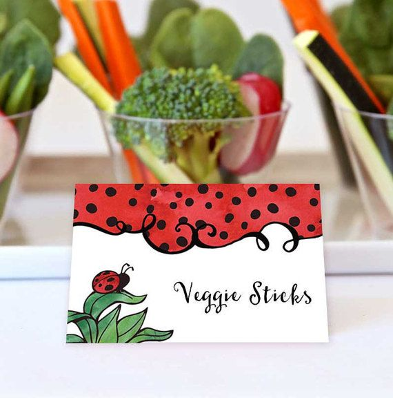 Ladybug Birthday Folded Party Labels by The Social Stationery