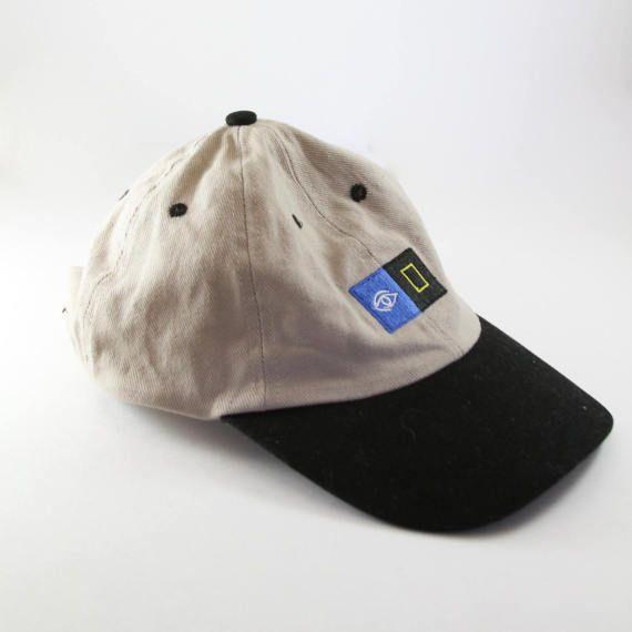 Geometric Eye 90's Dad Hat // Khaki and Black Vintage Baseball Cap // Low Profile Embroidered Design