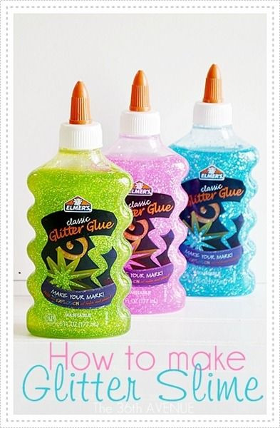 How to make Glitter Slime.  Cute idea to make ahead of time and put in small clear plastic containers for birthday party factors.