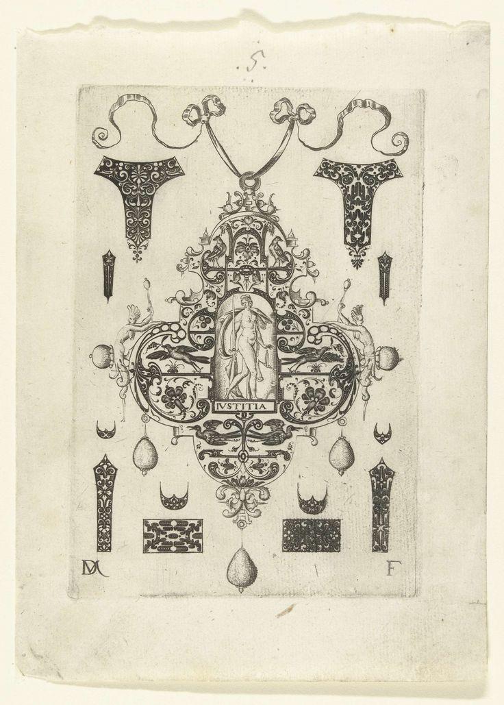 Daniel Mignot | Hanger met Justitia, Daniel Mignot, c. 1500 - c. 1600 | Justitia in een omlijsting van krulwerk met arabesken en zes vogels. Blad uit serie van hangers met deugden, bestaande uit een titelblad en 7 bladen. Aan elke hanger hangen drie parels. Om de hangers heen zijn kleine kostuumsieraden weergegeven.