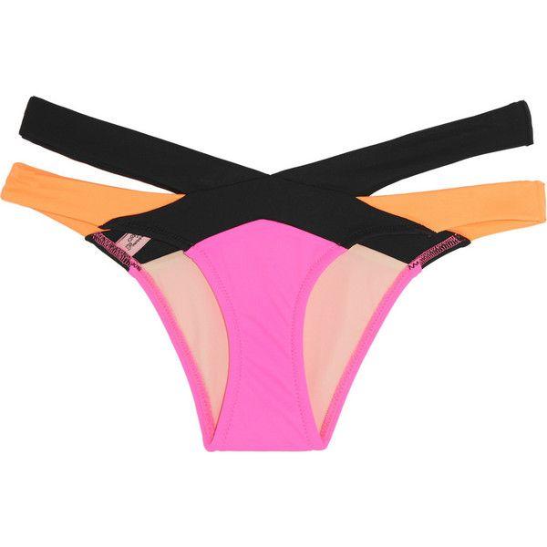 Agent Provocateur Mazzy cutout bikini briefs ($170) ❤ liked on Polyvore featuring swimwear, bikini, intimate, swim, pink, bikini swim wear, cutout bikini bottom, bikini bottom swimwear, swim wear and pink bikini
