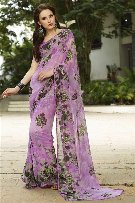 Elegant Purple Georgette Floral Print Saree