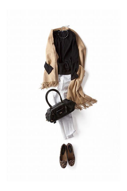 """気分を上げる"""" ホワイト""""  ヒョウ柄 レオパード フラットシューズ パンプス バレエシューズ アニマル コーディネート コーデ outfit leopard flatshoes ballet pumps coordinate style styling"""