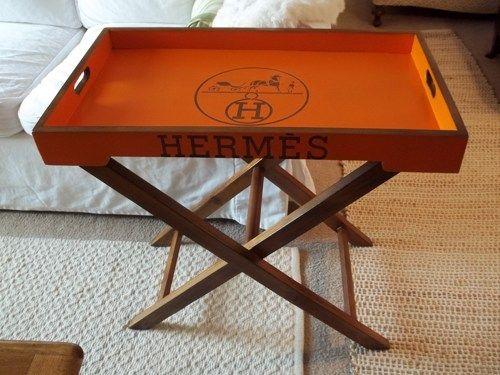 Hermes Paris Logo Side Table Tray Table Wooden |  Elizabethfordreplicatrays.com Elizford1@hotmail.