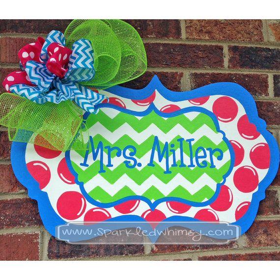 Chevron & Polkadot Welcome Teacher Door Hanger by SparkledWhimsy, $49.00
