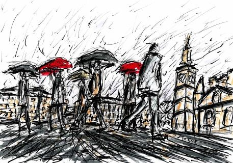 Original drawing of a rainy day in London City. Materials: Winsor and Newtonpermanent ink pens on high quality heavy weight paper. Size: 29 × 21 cm One of a kind Artwork. Signed on the front. FREE SHIPPING WORLDWIDE
