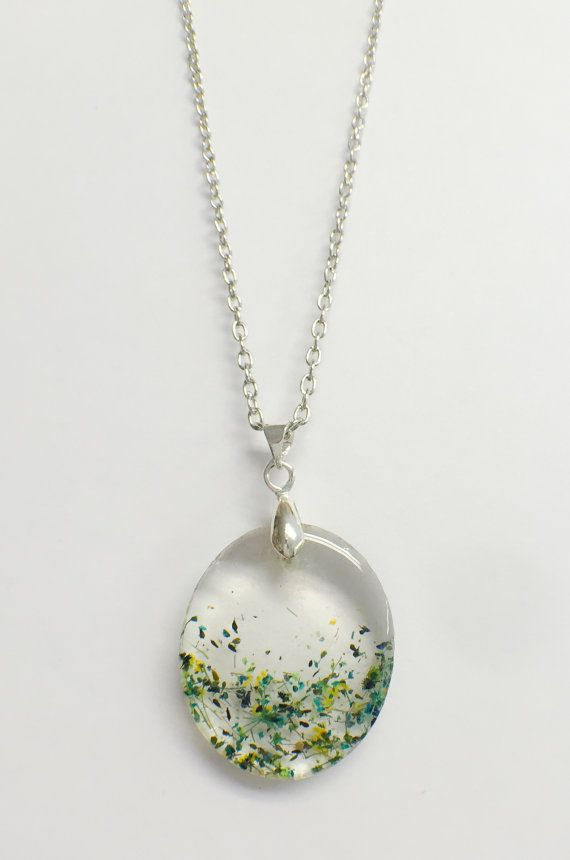 Hars sieraden-hars ketting-Queen Annes Lace halsketting - hanger van Resin - ingedrukt bloem hars sieraden – echte bloem hars sieraden