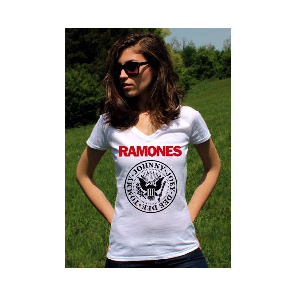 Ramones T Shirt Ramones Tshirt Ramones Shirts Ramones Shirt Punk Rock... ($14) ❤ liked on Polyvore featuring tops, t-shirts, white, women's clothing, 3/4 sleeve tee, 3/4 sleeve shirts, punk rock shirts, v neck shirts and punk rock t shirts