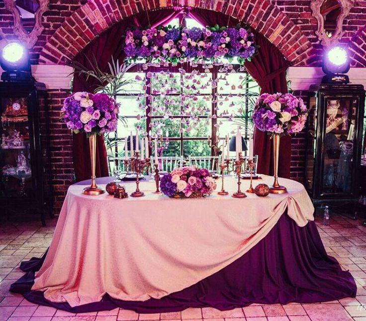 Purple sweetheart table #wedding #reception