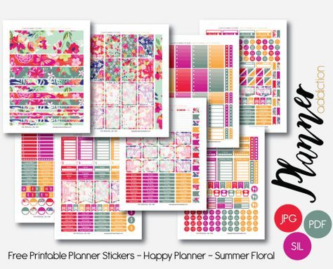 Free Happy Planner Printable Planner Stickers - Summer Floral