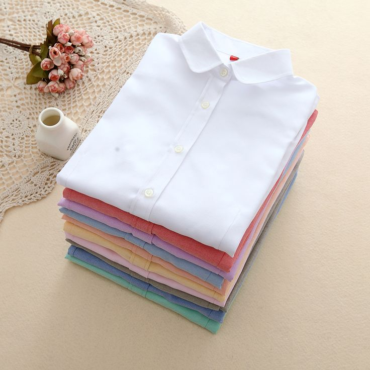 EYM Brand New Women Blouses Shirts Oxford Cotton Long Sleeve Ladies White Casual Shirt Plus Size Blouses Female Clothing Tops