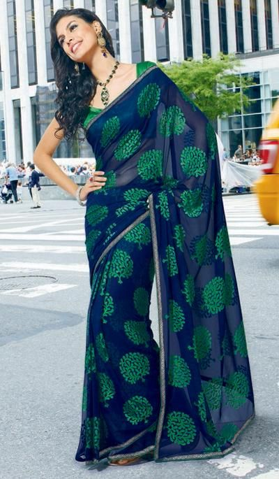 G3 Fashions Navy green georgette printed designer sarees Product Code : G3-LS13649 Price : INR RS 1840