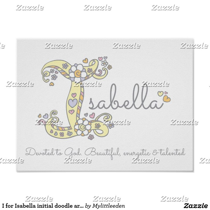 I for Isabella initial doodle art name meaning poster by Sarah Trett for www.mylittleeden.com #isabella #isabelle #namemeanings