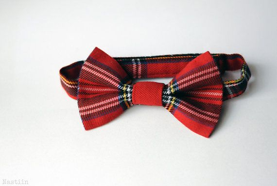 Red plaid bow tie / boys tartan bow tie red / back to school boy bowtie / red bow bandeau / ring bearer clothes accessories / gifts for kids