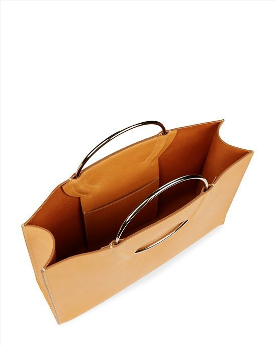 Leather Ring Handle Tote - Camel - Model Back Image