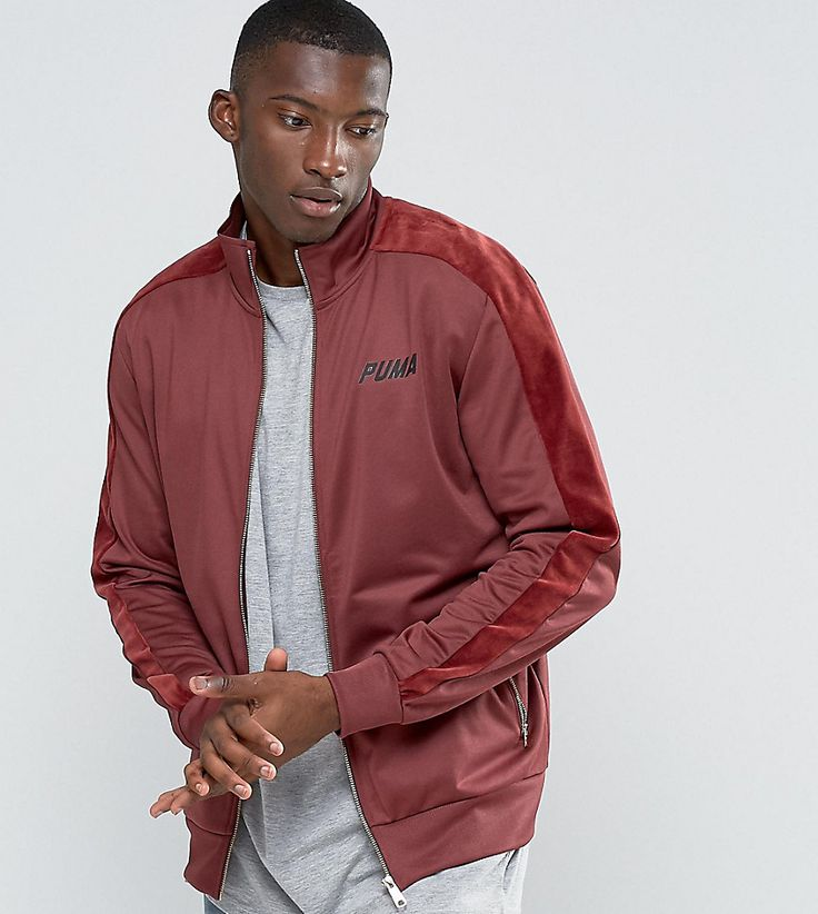 Puma Track Jacket With Velvet Trim In Red Exclusive To ASOS - Red
