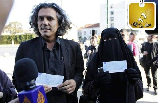"The man in the picture is Rachid Nekkaz, a French-Algerian businessman living in France.  He heard about the niqab ban in France and announced that he will pay all fines for women who wear the niqab - not just in France but ""in any country in the world that bans women from doing so"".  He opened a fund of € 1 million. Then he said, ""My sister, go out free wherever you want and I will pay the fine for you"".  May Allah reward him. :')"