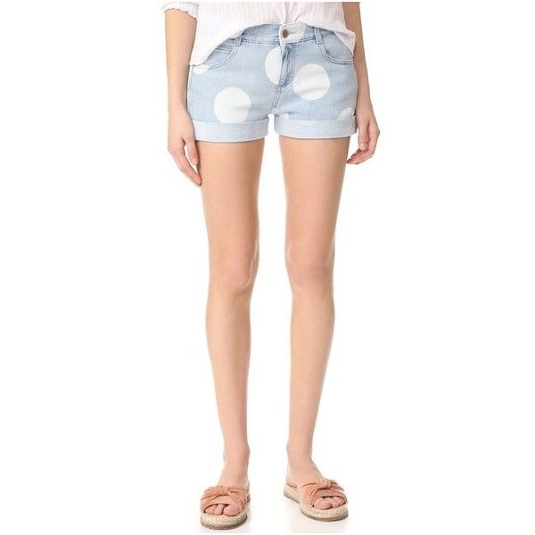 Stella McCartney Dot Print Shorts (575 AUD) ❤ liked on Polyvore featuring shorts, blue, blue polka dot shorts, polka dot shorts, blue denim shorts, blue shorts and dot shorts