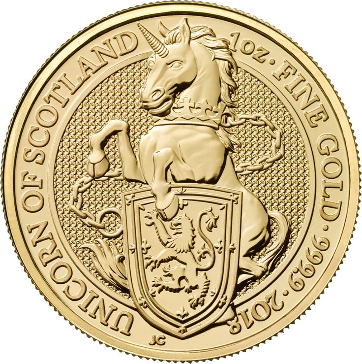 The 2018 UK Queen's Beasts The Unicron 1oz Gold Coin is the forth release from the exclusive bullion range from The Royal Mint, featuring an original reverse design. The coin's reverse features the spectacular Unicorn looking ready for battle, as it prepares to canter. The Unicorn Beast is holding the Royal Coat of Arms of Scotland and has a thick metal chain wrapped around its neck. The year-date and 'Unicorn of Scotland' also feature.