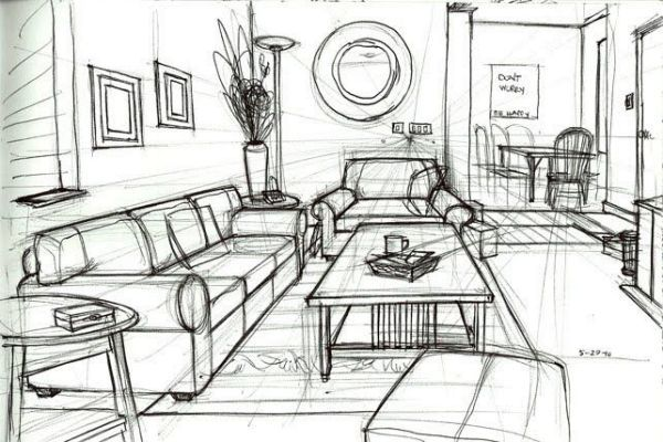 One Point Perspective Drawing Living Room Perspective Drawing