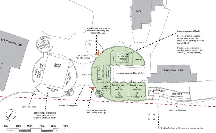 Initial concept sketch of the Education Centre's ground floor plan
