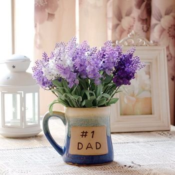 Buy The simulation flowerThe Mediterranean-style multi-colored artificial  flowers lavender 5 beams trade ceramic beer mug decorated in Cheap Price on  ...