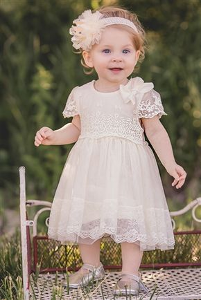 92600d5b4 MaeLi Rose - Lace Sleeve Baby Dress in Ivory in 2019