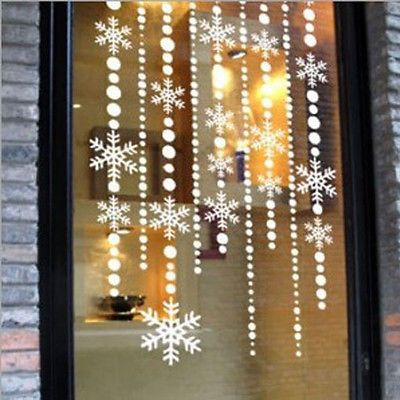 Christmas snow shade wall window sticker Decals Christmas home shop decor