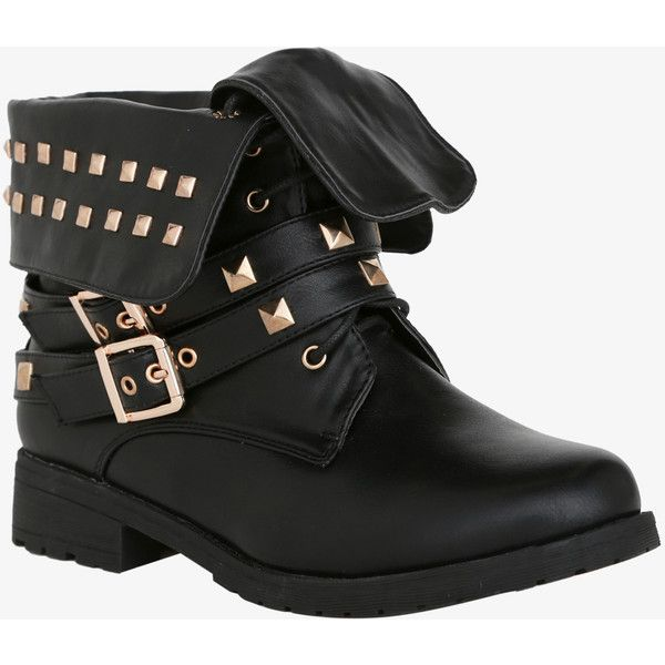 Studded Fold-Over Combat Ankle Boots (Wide Width) | Torrid ($29) ❤ liked on Polyvore featuring shoes, boots, ankle booties, sapatos, botas, black ankle booties, combat booties, black bootie, black booties and studded ankle boots
